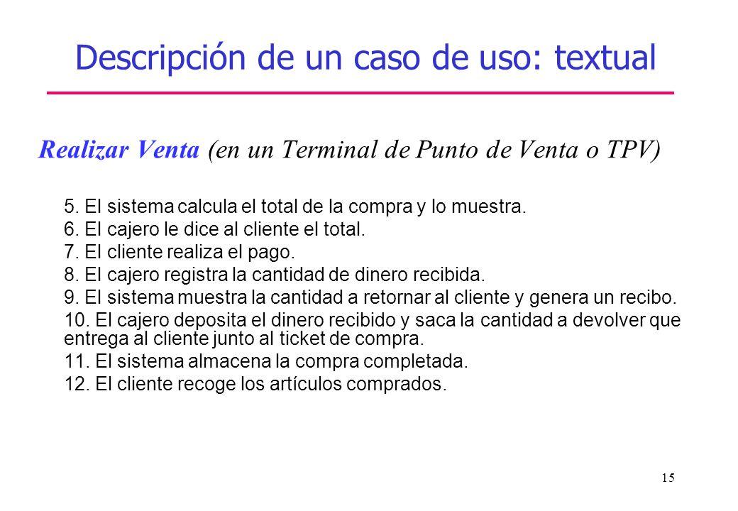 15 Descripción de un caso de uso: textual Realizar Venta (en un Terminal de Punto de Venta o TPV) 5. El sistema calcula el total de la compra y lo mue