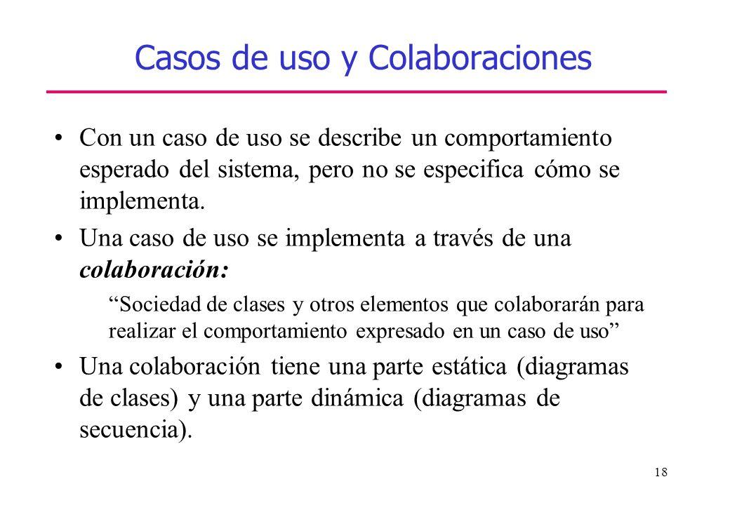 18 Casos de uso y Colaboraciones Con un caso de uso se describe un comportamiento esperado del sistema, pero no se especifica cómo se implementa. Una