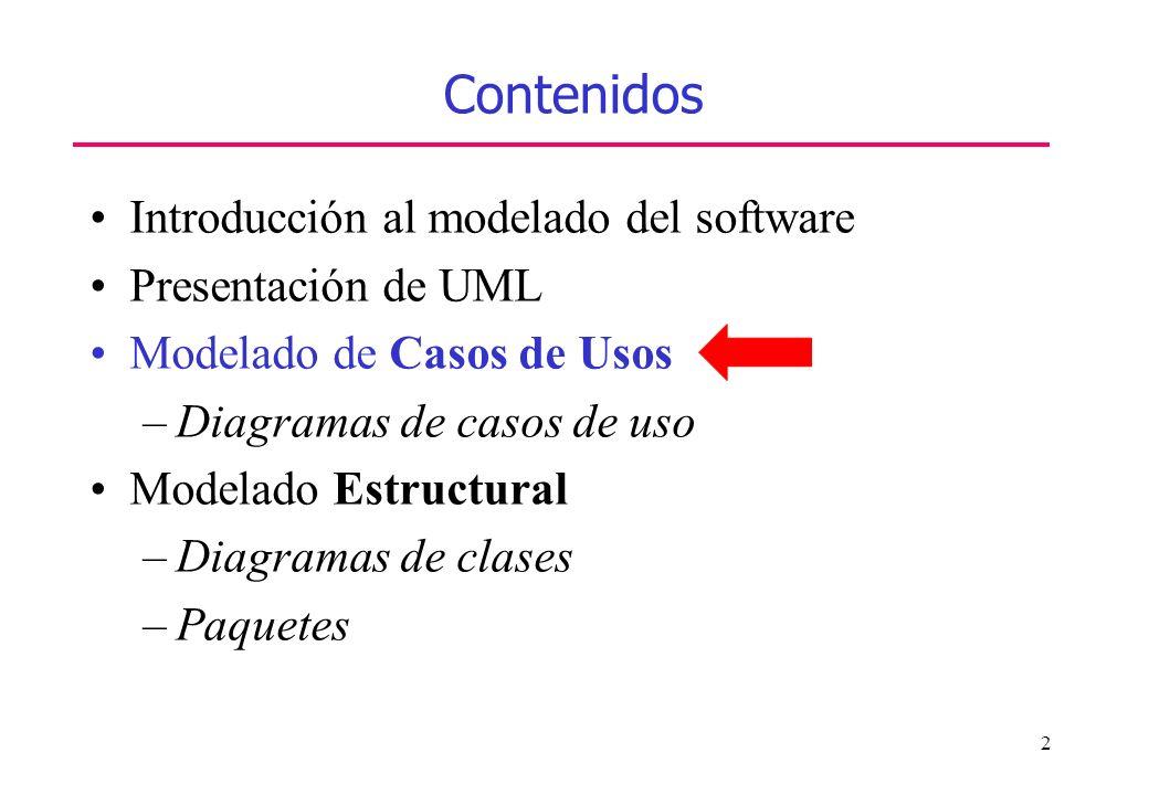 2 Contenidos Introducción al modelado del software Presentación de UML Modelado de Casos de Usos –Diagramas de casos de uso Modelado Estructural –Diag