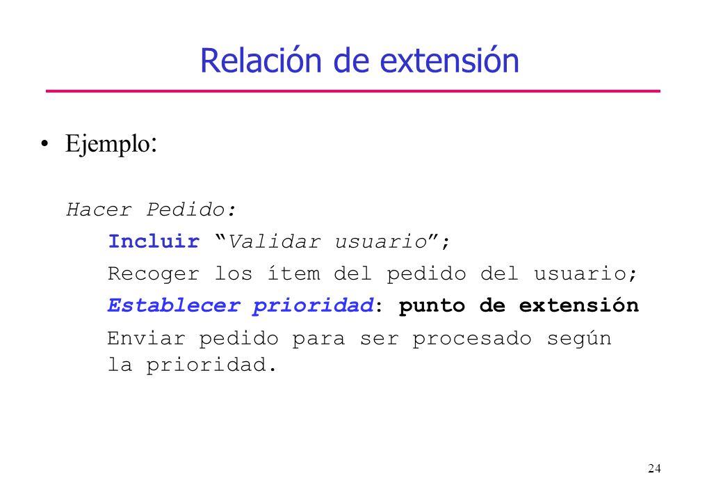 24 Relación de extensión Ejemplo : Hacer Pedido: Incluir Validar usuario; Recoger los ítem del pedido del usuario; Establecer prioridad: punto de exte