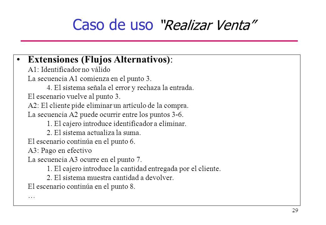 29 Caso de uso Realizar Venta Extensiones (Flujos Alternativos): A1: Identificador no válido La secuencia A1 comienza en el punto 3. 4. El sistema señ
