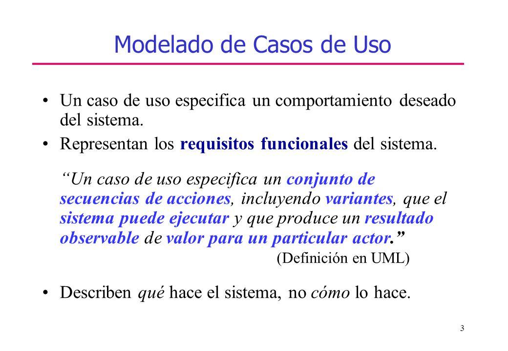4 Modelado de Casos de Uso Partes de un caso de uso (cdu) –Conjunto de secuencias de acciones; cada secuencia representa un posible comportamiento del sistema –Actores, roles que pueden jugar los usuarios –Variantes: versiones especializadas, un cdu que extiende a otro o un cdu que incluye a otro –Un caso de uso realiza un trabajo tangible.