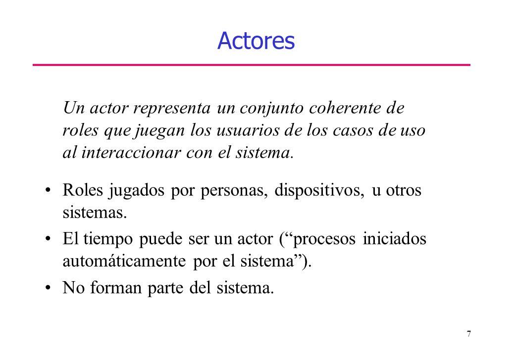 7 Actores Un actor representa un conjunto coherente de roles que juegan los usuarios de los casos de uso al interaccionar con el sistema. Roles jugado