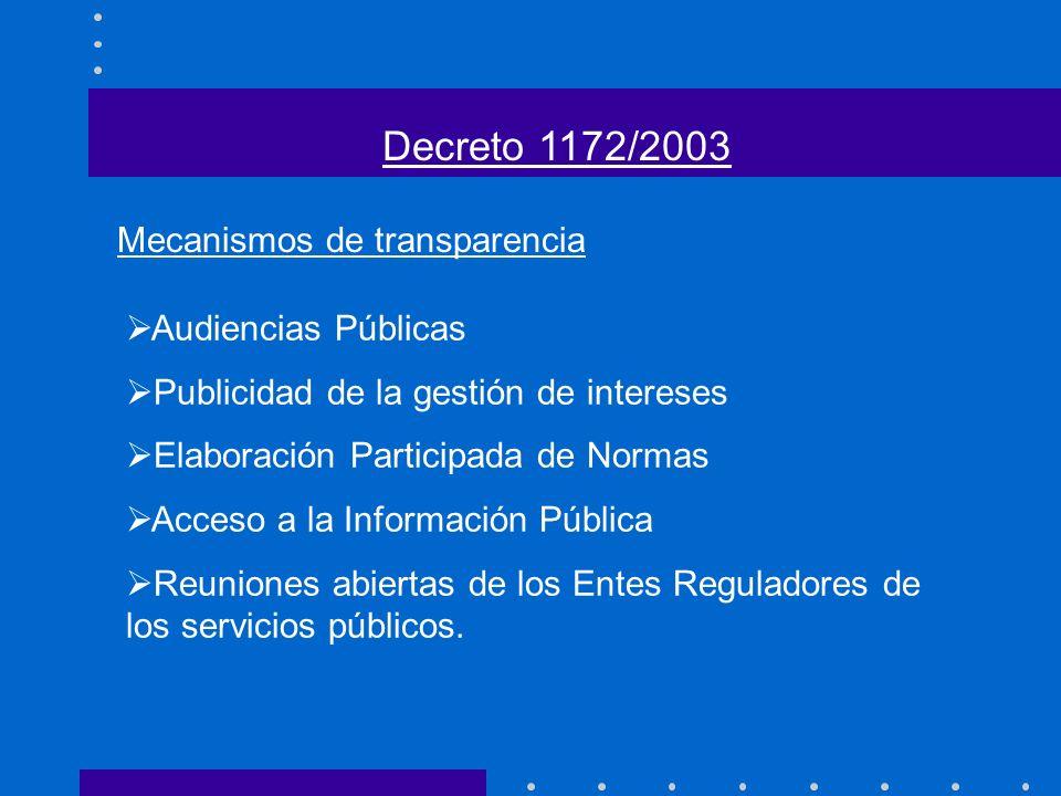 Audiencias Públicas Publicidad de la gestión de intereses Elaboración Participada de Normas Acceso a la Información Pública Reuniones abiertas de los