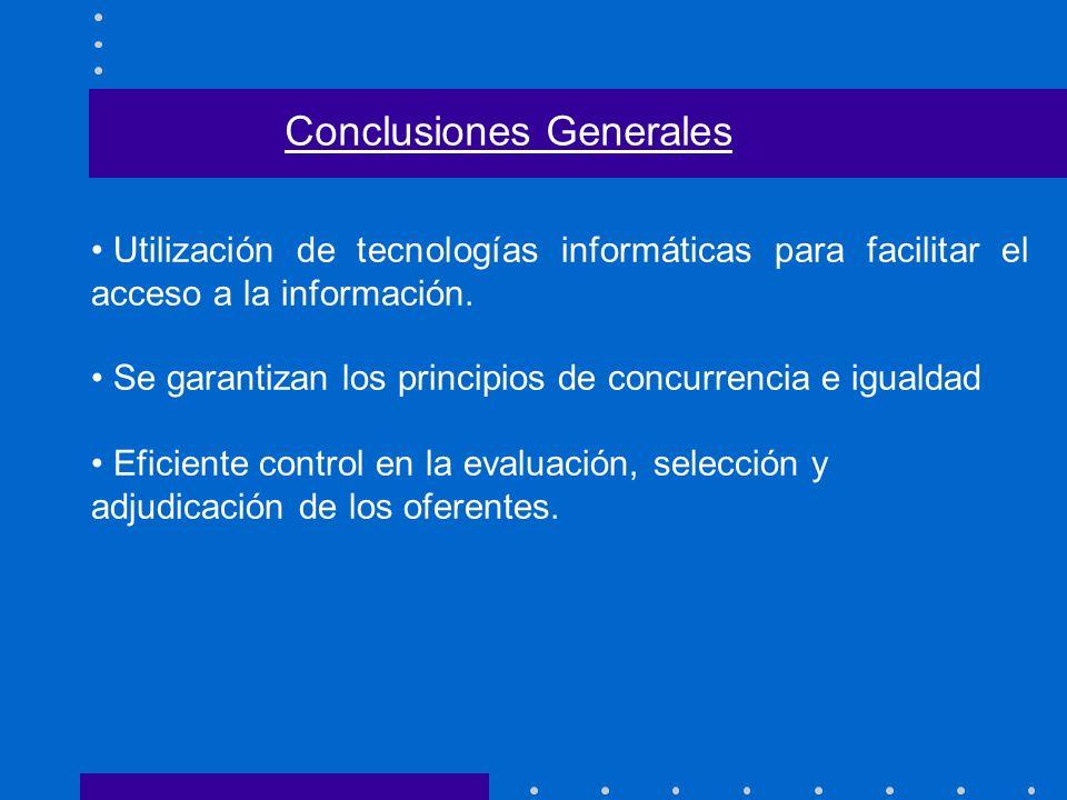 Utilización de tecnologías informáticas para facilitar el acceso a la información. Se garantizan los principios de concurrencia e igualdad Eficiente c