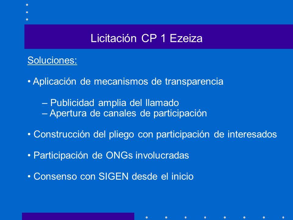 Licitación CP 1 Ezeiza Soluciones: Aplicación de mecanismos de transparencia – Publicidad amplia del llamado – Apertura de canales de participación Co