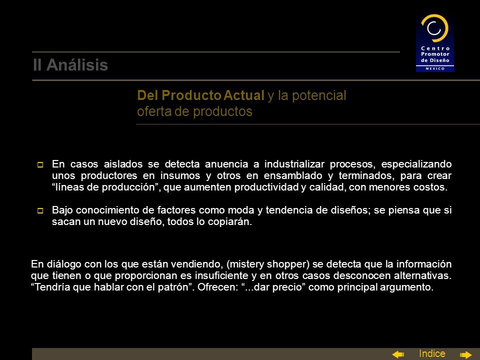 Indice o En casos aislados se detecta anuencia a industrializar procesos, especializando unos productores en insumos y otros en ensamblado y terminados, para crear líneas de producción, que aumenten productividad y calidad, con menores costos.