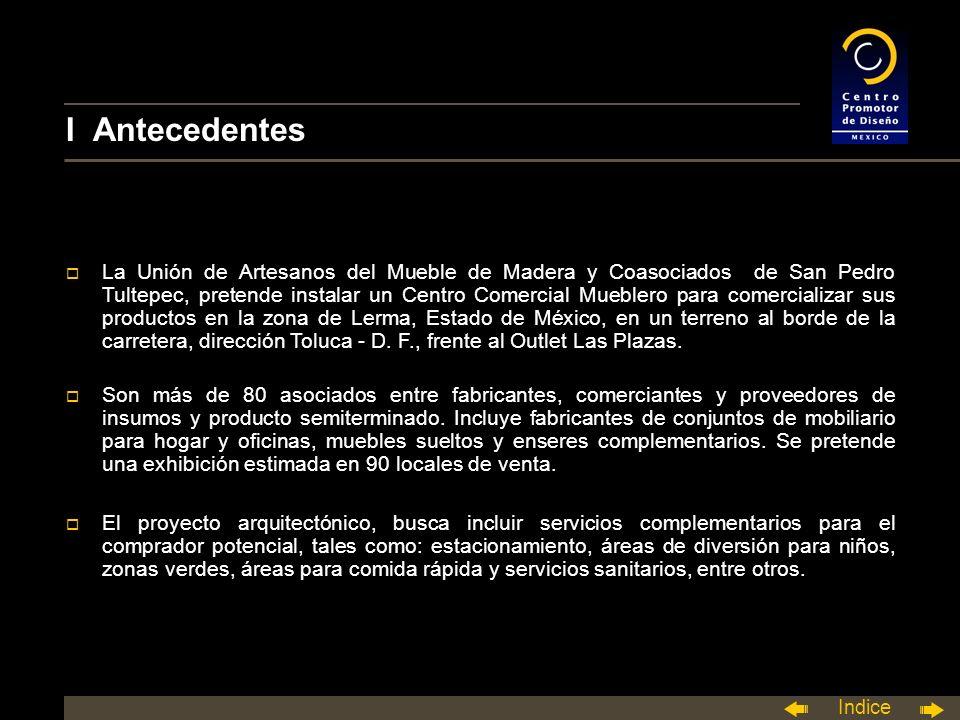 Indice I Antecedentes o La Unión de Artesanos del Mueble de Madera y Coasociados de San Pedro Tultepec, pretende instalar un Centro Comercial Mueblero para comercializar sus productos en la zona de Lerma, Estado de México, en un terreno al borde de la carretera, dirección Toluca - D.