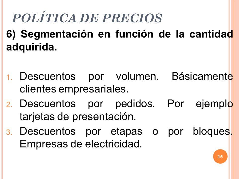 POLÍTICA DE PRECIOS 6) Segmentación en función de la cantidad adquirida. 1. Descuentos por volumen. Básicamente clientes empresariales. 2. Descuentos