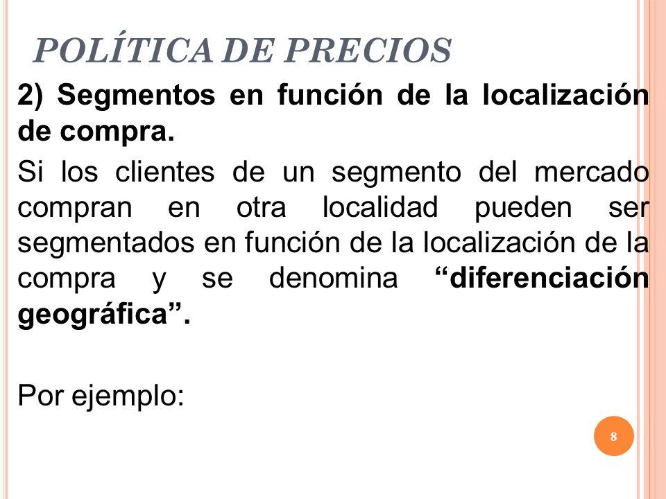 POLÍTICA DE PRECIOS 2) Segmentos en función de la localización de compra. Si los clientes de un segmento del mercado compran en otra localidad pueden