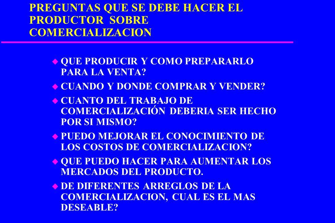 CARACTERISTICAS DE LOS PRODUCTORES u PRODUCCION ATOMIZADA u GRAN DISTANCIA DE LOS MERCADOS u DEBIL SITUACION FINANCIERA u INDIVIDUALISMO u POCO PODER