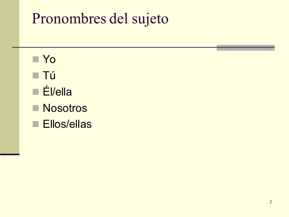2 Pronombres del sujeto Yo Tú Él/ella Nosotros Ellos/ellas