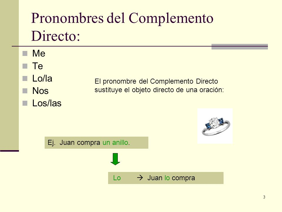 3 Pronombres del Complemento Directo: Me Te Lo/la Nos Los/las El pronombre del Complemento Directo sustituye el objeto directo de una oración: Ej. Jua