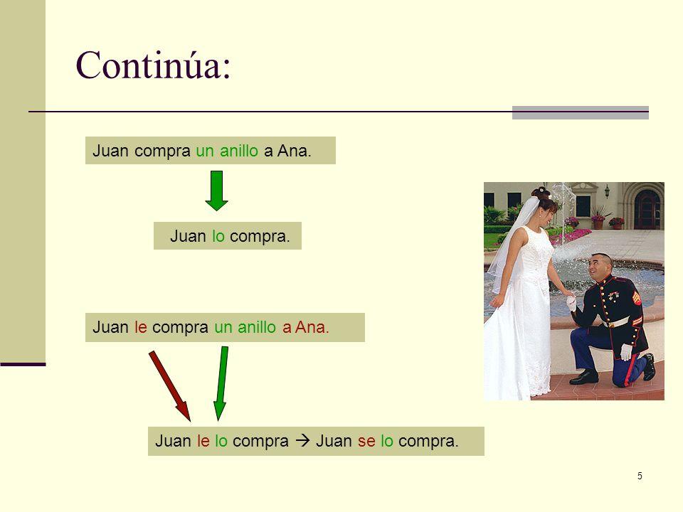 5 Continúa: Juan compra un anillo a Ana. Juan lo compra. Juan le compra un anillo a Ana. Juan le lo compra Juan se lo compra.