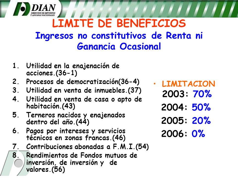 LIMITE DE BENEFICIOS Ingresos no constitutivos de Renta ni Ganancia Ocasional 1.Utilidad en la enajenación de acciones.(36-1) 2.Procesos de democratiz