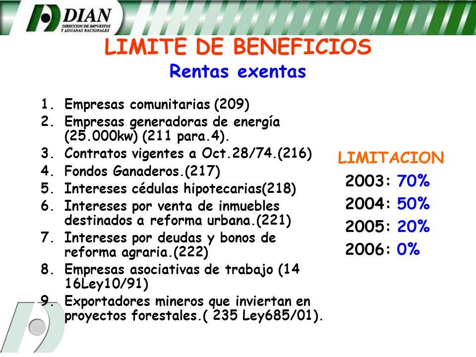 LIMITE DE BENEFICIOS Rentas exentas 1.Empresas comunitarias (209) 2.Empresas generadoras de energía (25.000kw) (211 para.4). 3.Contratos vigentes a Oc