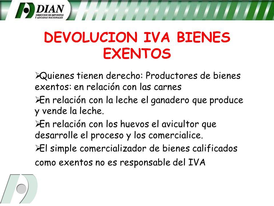 DEVOLUCION IVA BIENES EXENTOS Quienes tienen derecho: Productores de bienes exentos: en relación con las carnes En relación con la leche el ganadero q