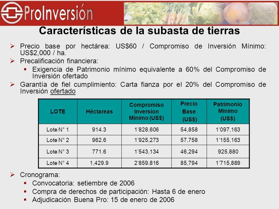 Características de la subasta de tierras Precio base por hectárea: US$60 / Compromiso de Inversión Mínimo: US$2,000 / ha. Precalificación financiera: