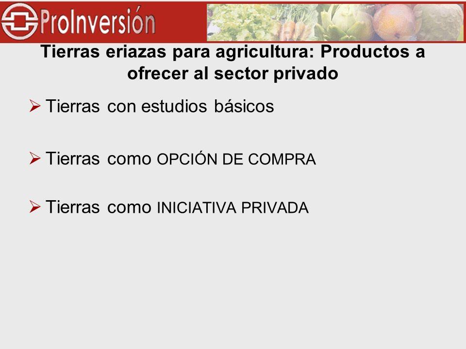 Tierras eriazas para agricultura: Productos a ofrecer al sector privado Tierras con estudios básicos Tierras como OPCIÓN DE COMPRA Tierras como INICIATIVA PRIVADA