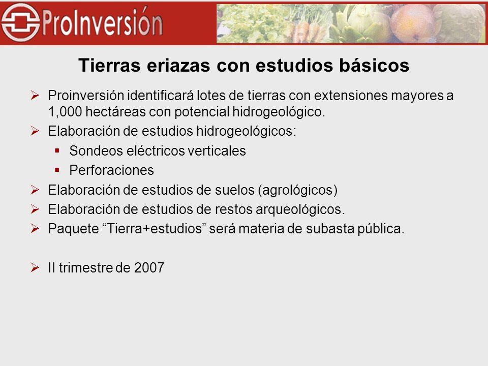 Tierras eriazas con estudios básicos Proinversión identificará lotes de tierras con extensiones mayores a 1,000 hectáreas con potencial hidrogeológico.