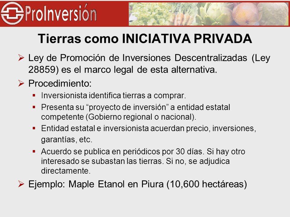Tierras como INICIATIVA PRIVADA Ley de Promoción de Inversiones Descentralizadas (Ley 28859) es el marco legal de esta alternativa. Procedimiento: Inv