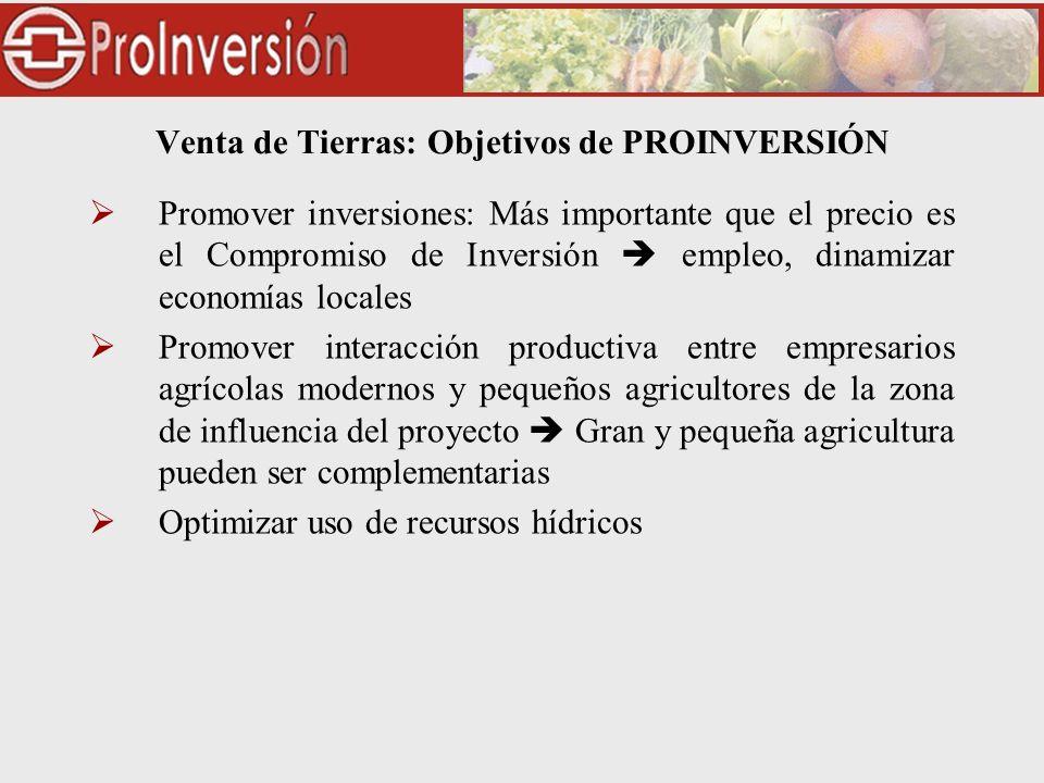 Venta de Tierras: Objetivos de PROINVERSIÓN Promover inversiones: Más importante que el precio es el Compromiso de Inversión empleo, dinamizar economí