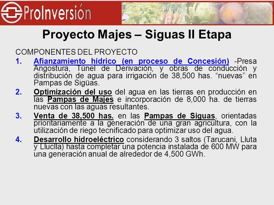 Proyecto Majes – Siguas II Etapa COMPONENTES DEL PROYECTO 1.Afianzamiento hídrico (en proceso de Concesión) -Presa Angostura, Túnel de Derivación, y obras de conducción y distribución de agua para irrigación de 38,500 has.