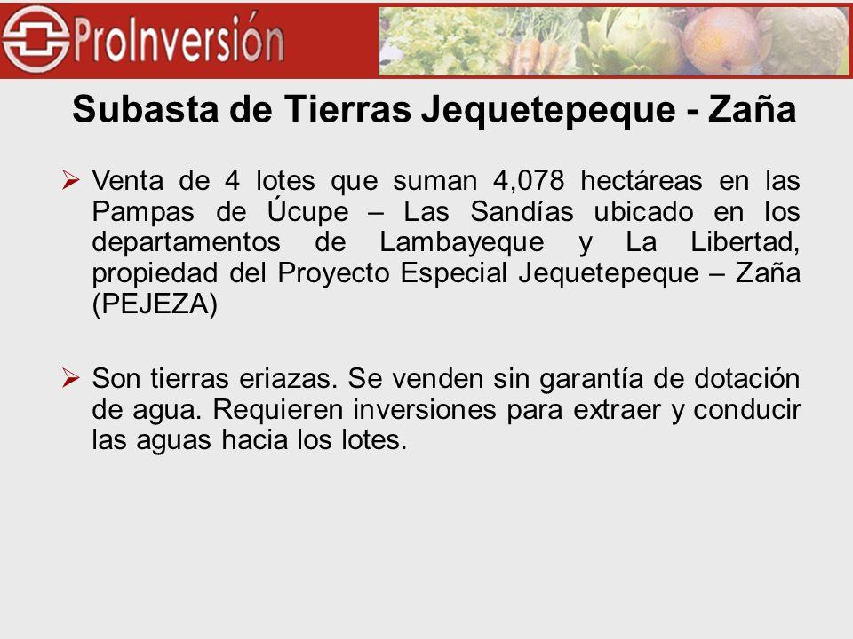 Venta de 4 lotes que suman 4,078 hectáreas en las Pampas de Úcupe – Las Sandías ubicado en los departamentos de Lambayeque y La Libertad, propiedad del Proyecto Especial Jequetepeque – Zaña (PEJEZA) Son tierras eriazas.