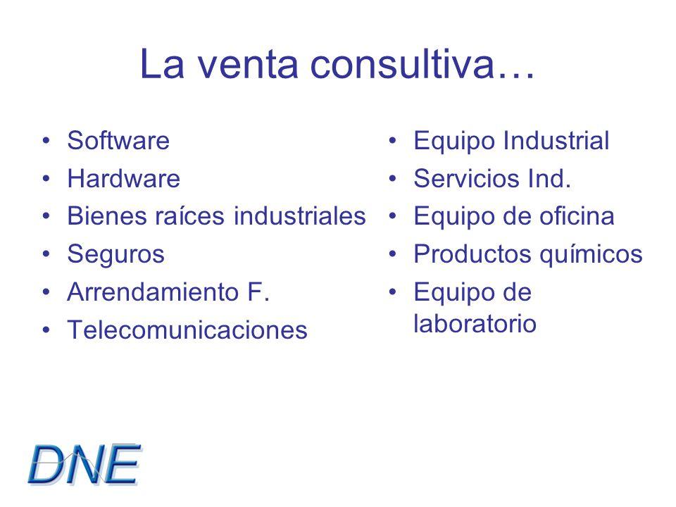 La venta consultiva… Software Hardware Bienes raíces industriales Seguros Arrendamiento F.