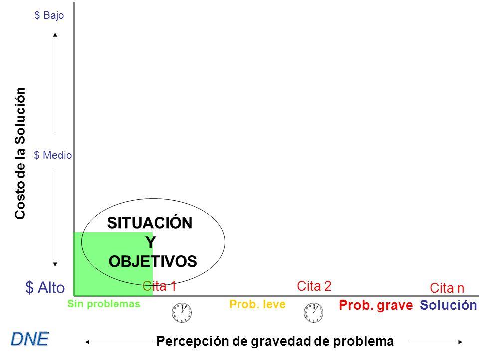 Cita 1Cita 2 Cita n $ Bajo $ Medio $ Alto Costo de la Solución Percepción de gravedad de problema SITUACIÓN Y OBJETIVOS Sin problemas Prob.