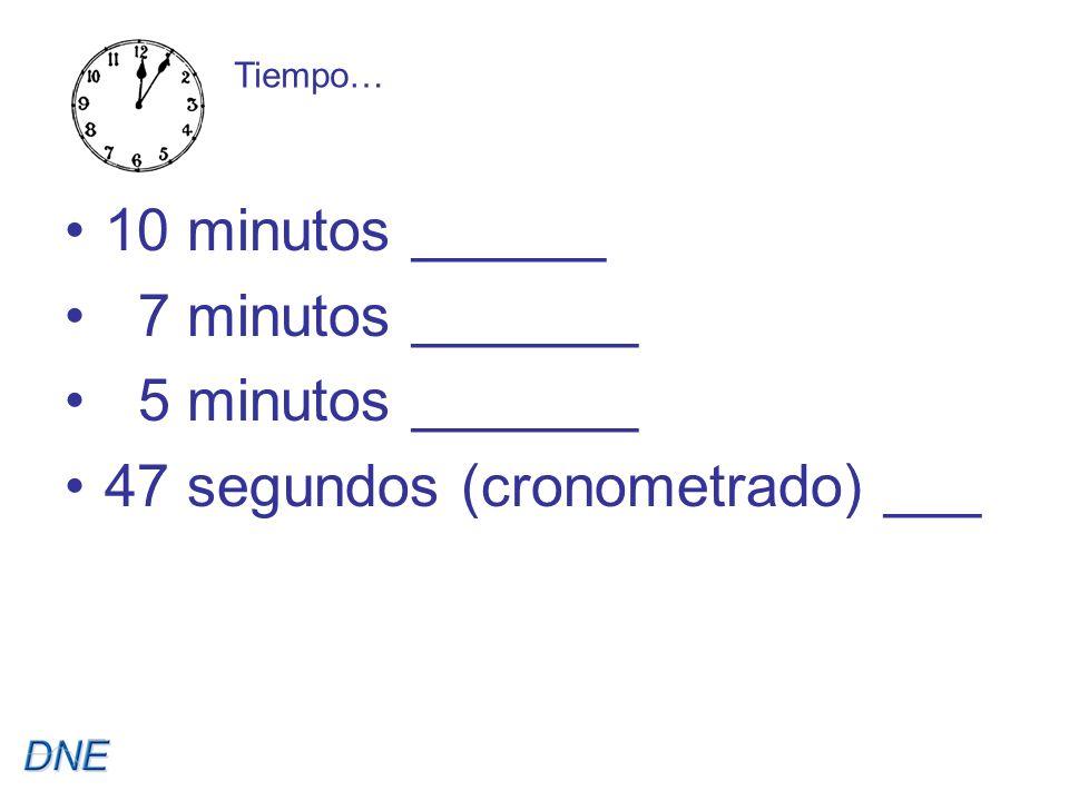 10 minutos ______ 7 minutos _______ 5 minutos _______ 47 segundos (cronometrado) ___ Tiempo…