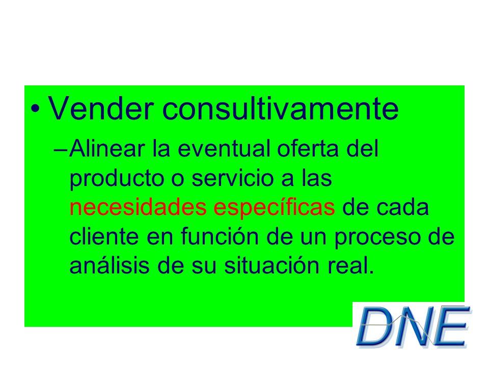 Vender consultivamente –Alinear la eventual oferta del producto o servicio a las necesidades específicas de cada cliente en función de un proceso de análisis de su situación real.