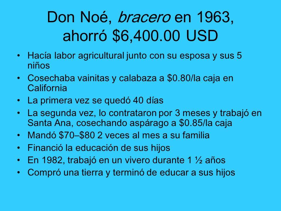 Don Noé, bracero en 1963, ahorró $6,400.00 USD Hacía labor agricultural junto con su esposa y sus 5 niños Cosechaba vainitas y calabaza a $0.80/la caj
