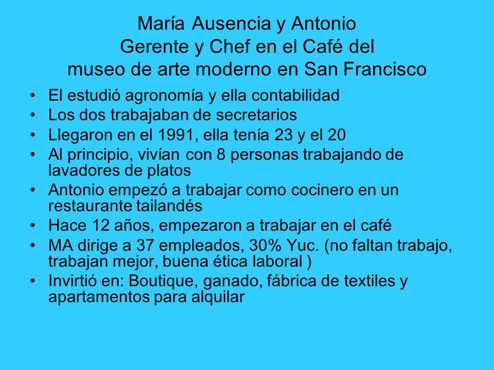 María Ausencia y Antonio Gerente y Chef en el Café del museo de arte moderno en San Francisco El estudió agronomía y ella contabilidad Los dos trabaja