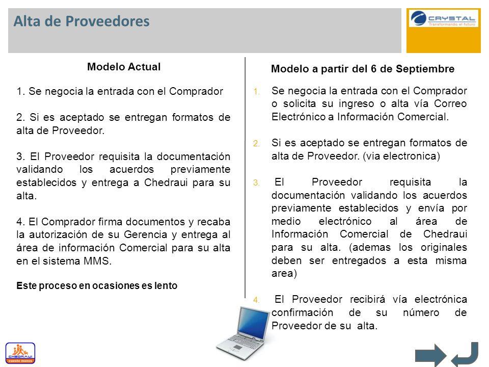 Alta de Proveedores Modelo Actual Modelo a partir del 6 de Septiembre 1. Se negocia la entrada con el Comprador 2. Si es aceptado se entregan formatos