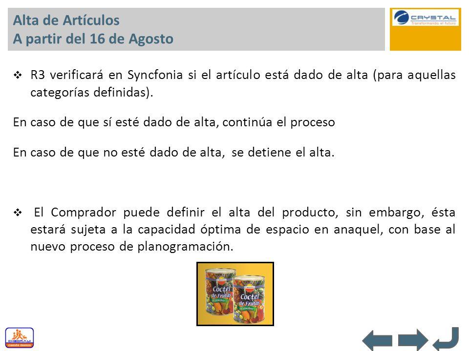 Alta de Artículos A partir del 16 de Agosto R3 verificará en Syncfonia si el artículo está dado de alta (para aquellas categorías definidas). En caso