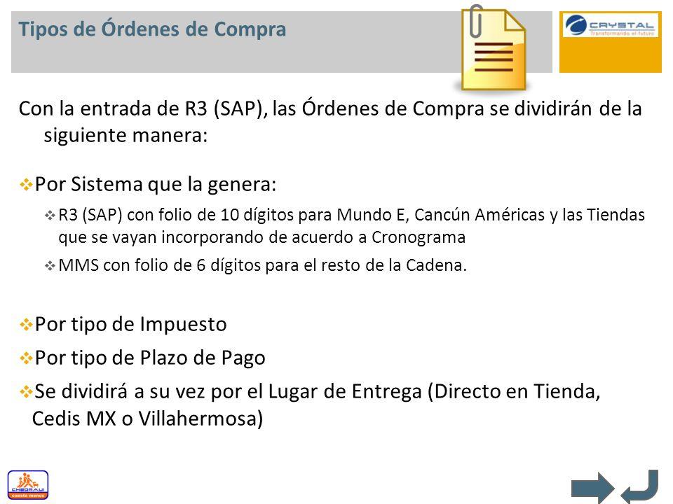 Tipos de Órdenes de Compra Con la entrada de R3 (SAP), las Órdenes de Compra se dividirán de la siguiente manera: Por Sistema que la genera: R3 (SAP)