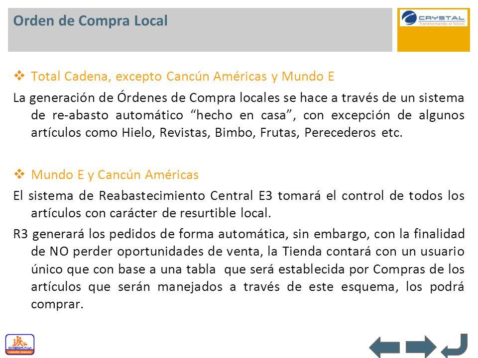 Orden de Compra Local Total Cadena, excepto Cancún Américas y Mundo E La generación de Órdenes de Compra locales se hace a través de un sistema de re-