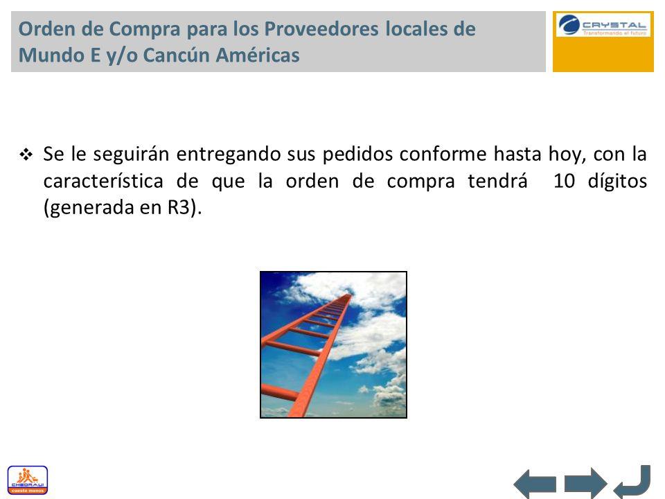 Orden de Compra para los Proveedores locales de Mundo E y/o Cancún Américas Se le seguirán entregando sus pedidos conforme hasta hoy, con la caracterí