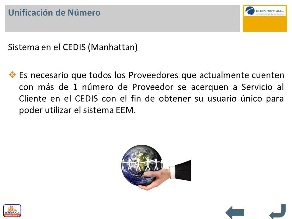 Unificación de Número Sistema en el CEDIS (Manhattan) Es necesario que todos los Proveedores que actualmente cuenten con más de 1 número de Proveedor