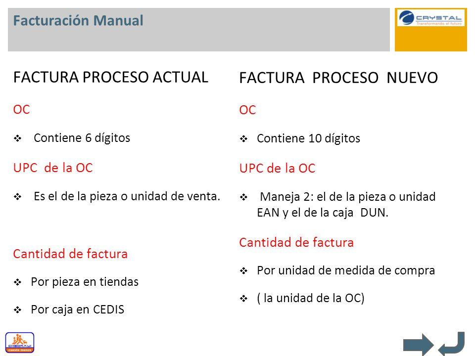 Facturación Manual FACTURA PROCESO ACTUAL OC Contiene 6 dígitos UPC de la OC Es el de la pieza o unidad de venta. Cantidad de factura Por pieza en tie