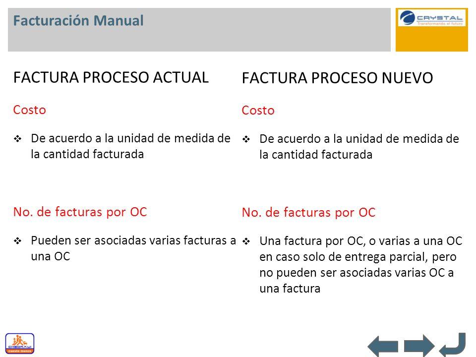 Facturación Manual FACTURA PROCESO ACTUAL Costo De acuerdo a la unidad de medida de la cantidad facturada No. de facturas por OC Pueden ser asociadas