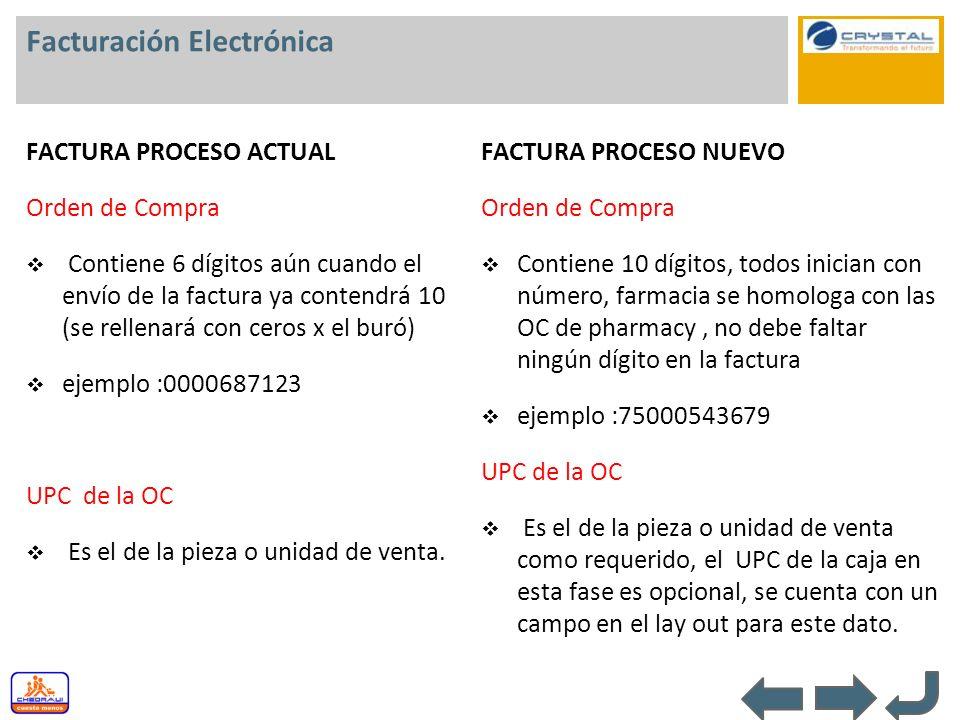 Facturación Electrónica FACTURA PROCESO ACTUAL Orden de Compra Contiene 6 dígitos aún cuando el envío de la factura ya contendrá 10 (se rellenará con