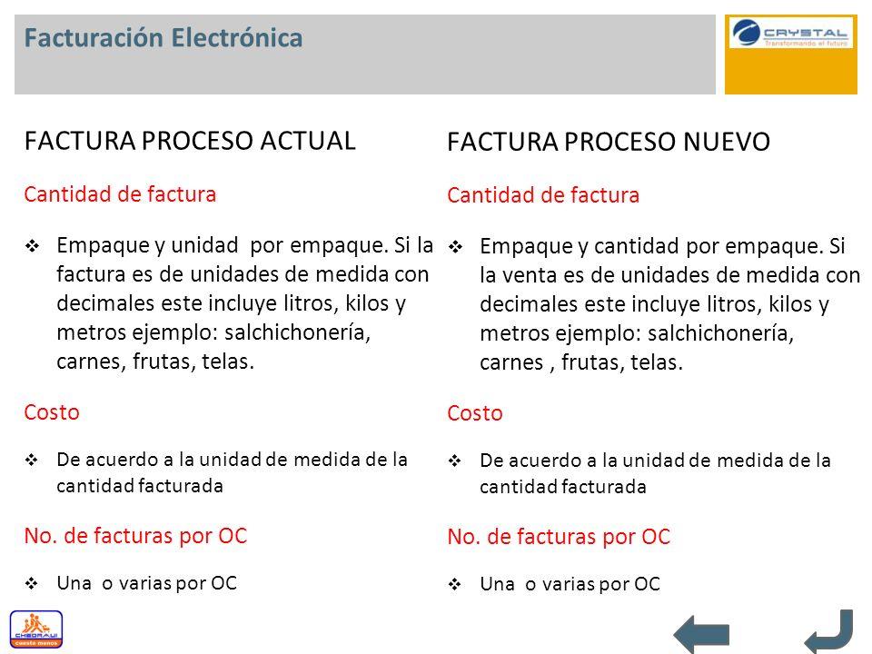Facturación Electrónica FACTURA PROCESO ACTUAL Cantidad de factura Empaque y unidad por empaque. Si la factura es de unidades de medida con decimales