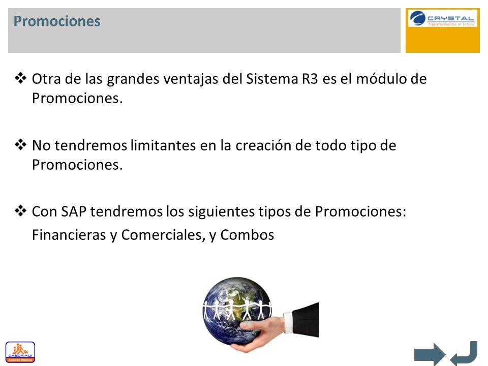 Promociones Otra de las grandes ventajas del Sistema R3 es el módulo de Promociones. No tendremos limitantes en la creación de todo tipo de Promocione