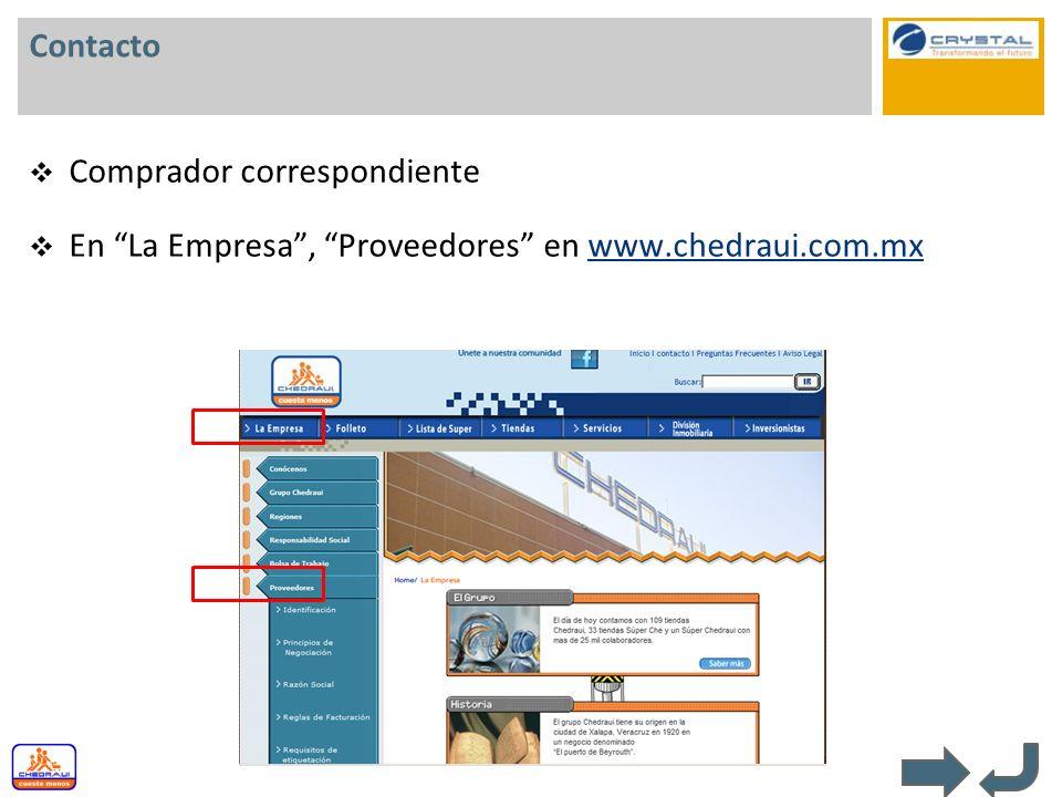Contacto Comprador correspondiente En La Empresa, Proveedores en www.chedraui.com.mxwww.chedraui.com.mx