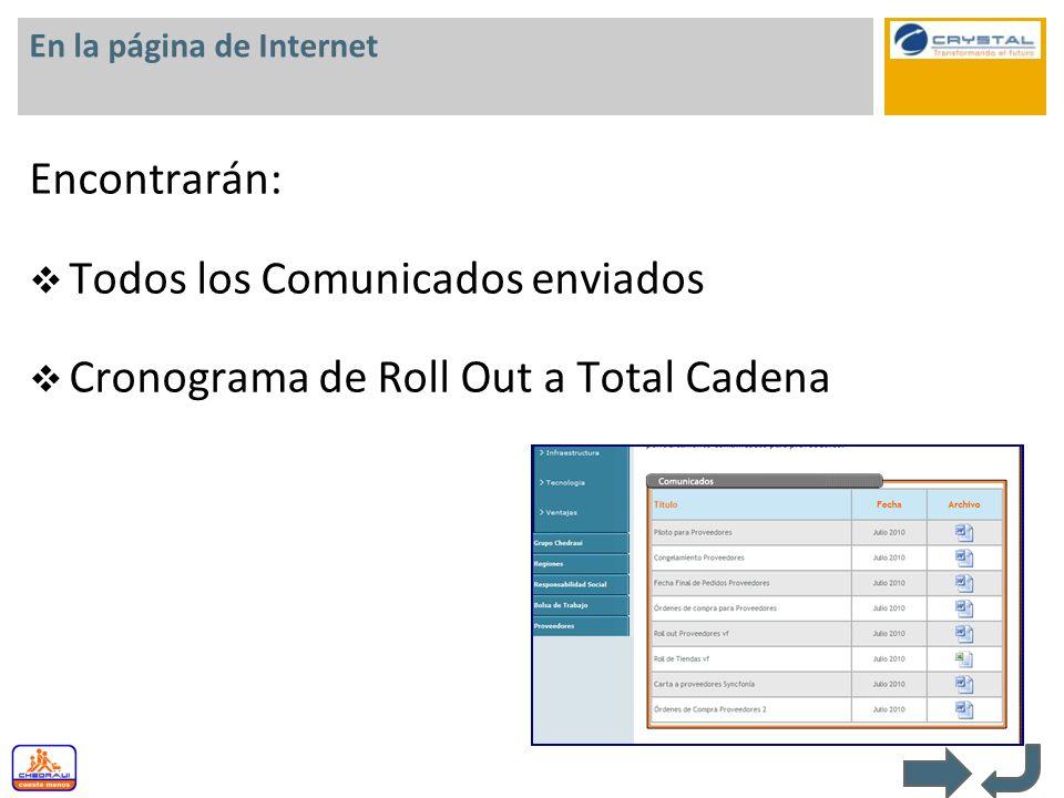 En la página de Internet Encontrarán: Todos los Comunicados enviados Cronograma de Roll Out a Total Cadena