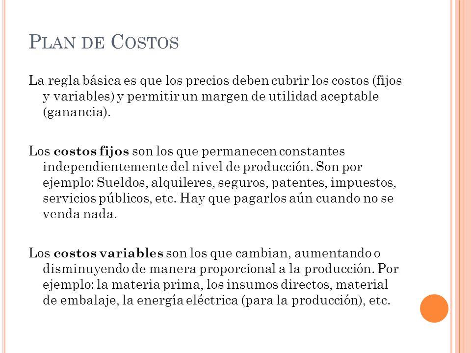 P LAN DE C OSTOS La regla básica es que los precios deben cubrir los costos (fijos y variables) y permitir un margen de utilidad aceptable (ganancia).