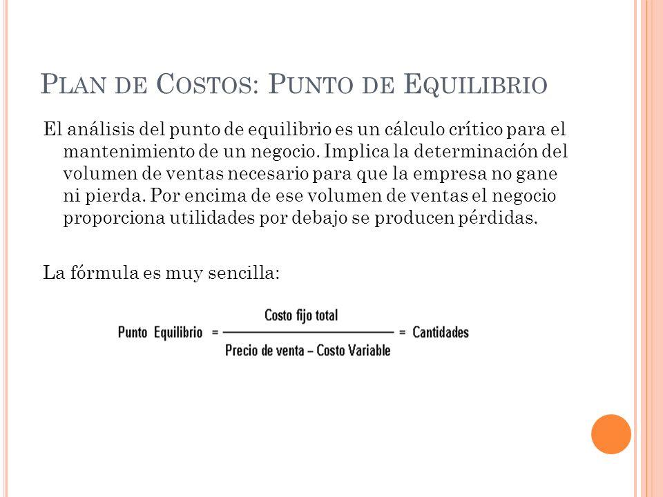 P LAN DE C OSTOS : P UNTO DE E QUILIBRIO El análisis del punto de equilibrio es un cálculo crítico para el mantenimiento de un negocio.