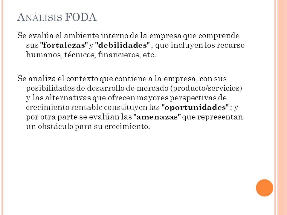 A NÁLISIS FODA Se evalúa el ambiente interno de la empresa que comprende sus